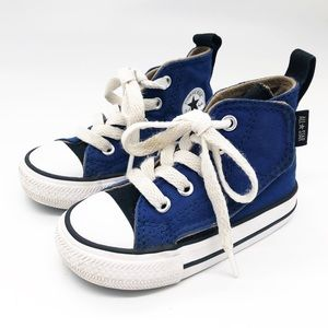 Baby Converse High Tops Blue Velcro &mLace Up Sz 5